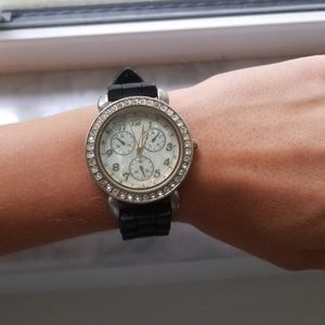 Accessories - Black and gold Watch with rhinestones